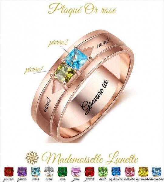 Bague-maman-2-pierres-de-naissance-carre-gravure-2-prénoms-offerts