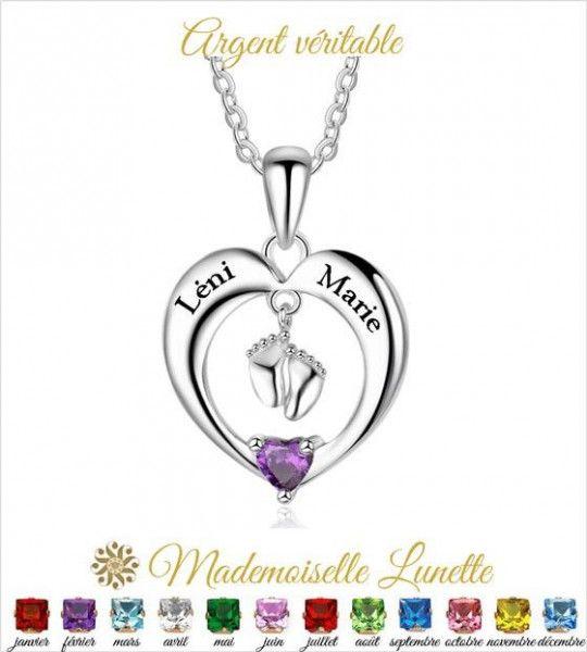 Collier naissance coeur - cadeau future maman - cadeau personnalisable  - 1
