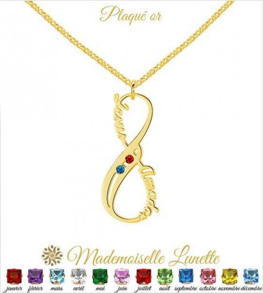 Collier infini personnalisable avec deux prenoms - collier pour les mamans