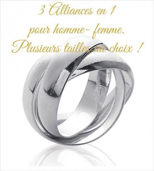 f9ec427e21e alliance 3 anneaux en argent bague femme taille du 48 au 68