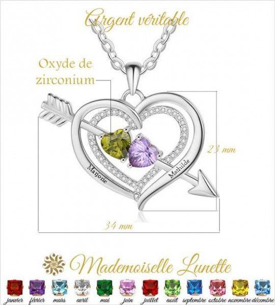 collier-grand-coeur-avec-fleche-argent-pour-maman-et-femme-avec-2-pierres-et-2-prenoms-offerts