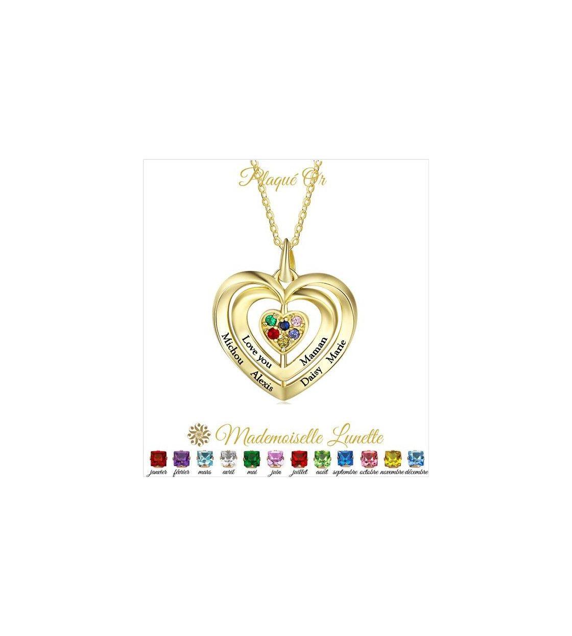 a4acf5b9f405a Collier 3 coeurs plaqué or avec 6 prenoms 6 pierres de naissance