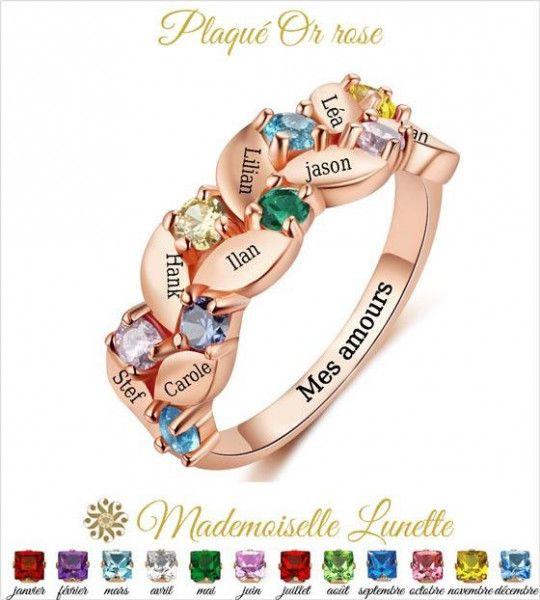 Bague torsadée huit pierres mois de naissance-bague familiale en or rosé-cadeau fête des mamans grands mères