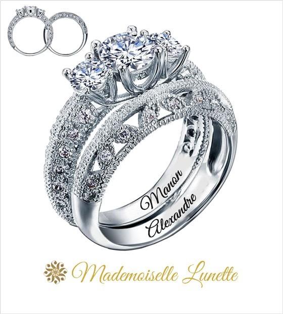 site réputé 8069d 68241 Bague de mariage en Argent, 1,50 carats diamant zopius Gravures offertes