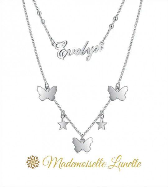 collier double avec prenom et papillons etoiles