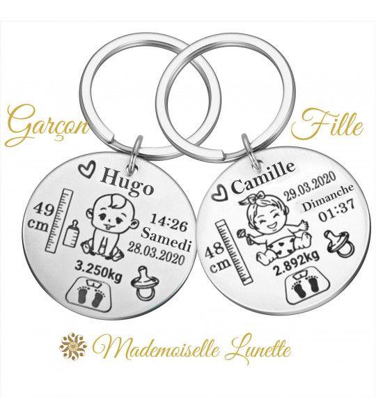 Porte cle de naissance personnalisable avec nom poids date et mesure de l enfant
