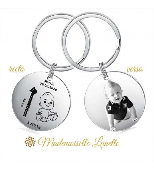 Porte cle de naissance personnalisable avec nom poids date et taille de l enfant