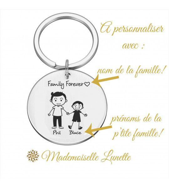 porte clé cadeau personnalisation gravure prenoms famille