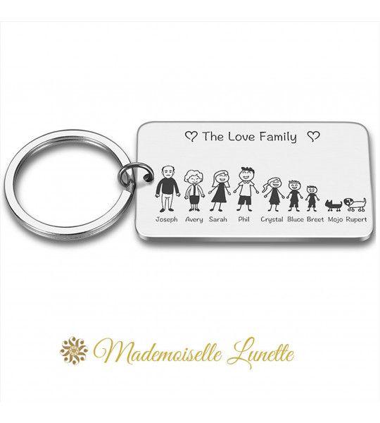 porte clé rectangle acier family famille a personnaliser avec prenoms enfants parents