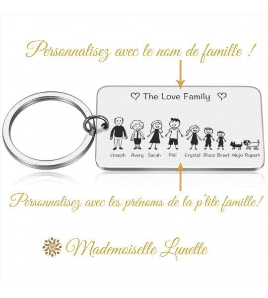 porte clé cadeau personnalisation gravure des prenoms et silhouette famille