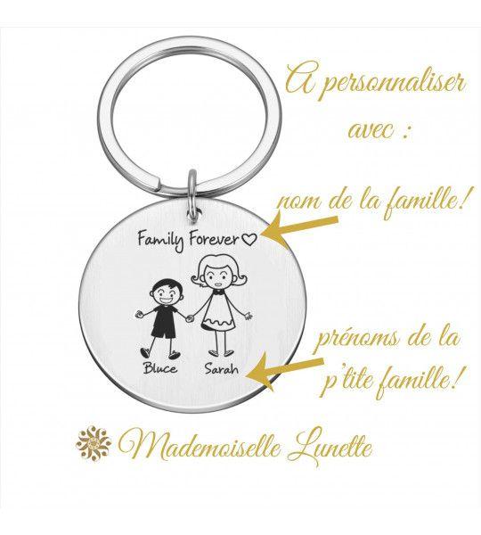porte clé cadeau personnalisation prenoms famille maman