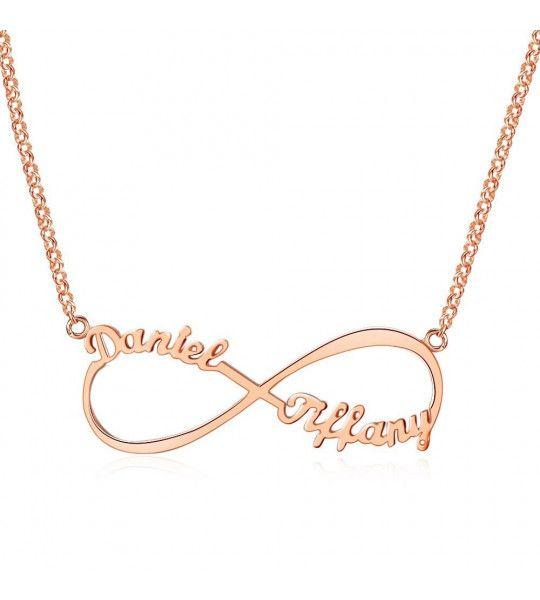 collier infini plaqué or rose personnalisable 2 prénoms découpés dans la matière