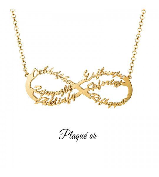 collier-pas-cher-avec-signe-de-l-infini-et-gravure-6-prenoms-collier-infini-plaqué or