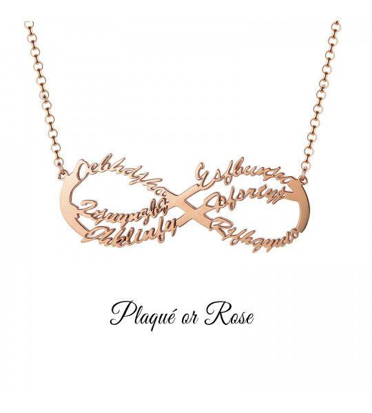 collier-pas-cher-avec-signe-de-l-infini-et-gravure-6-prenoms-collier-infini-plaqué or rose