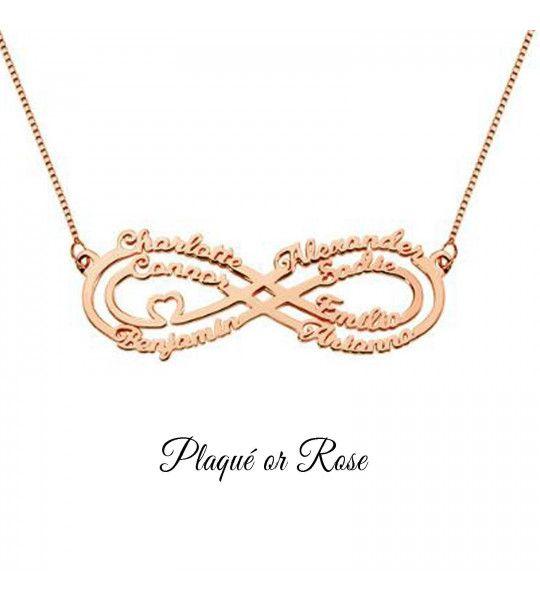 collier-pas-cher-avec-signe-de-l-infini-et-gravure-7-prenoms-collier-infini-plaqué or rose