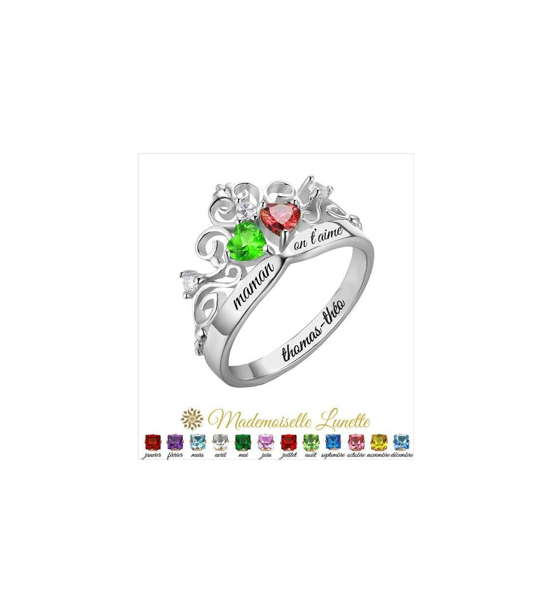 bague de princesse 2 pierres 2 prenoms