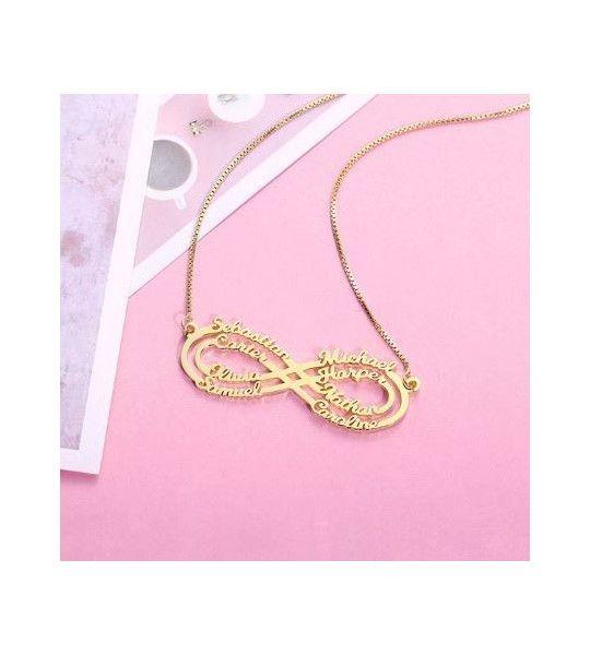collier-pas-cher-avec-signe-de-l-infini-et-gravure-8-prenoms-collier-infini-plaqué or