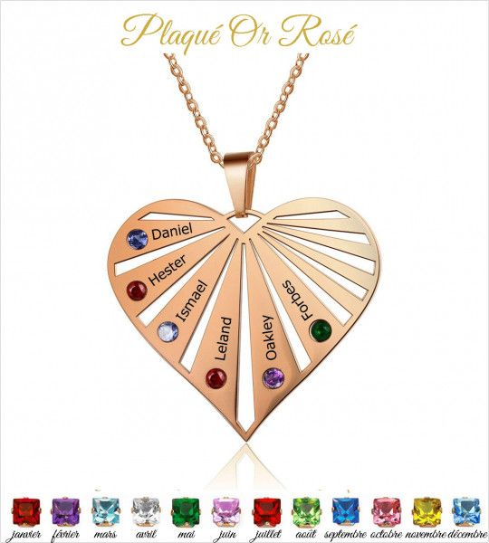 Collier Coeur 6 pierres de naissance et 6 gravure prenoms - acier or rose  - 1