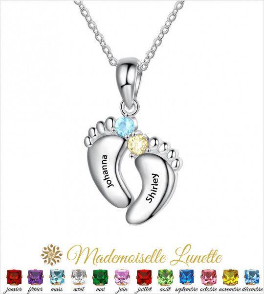 Collier petits pieds personnalisable maman - cadeau naissance - Cadeau fete des mères  - 1
