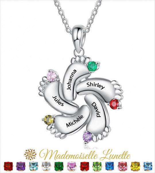 Collier petits pieds personnalisable maman - Cadeau fete des mères-Cadeau anniversaire  - 1