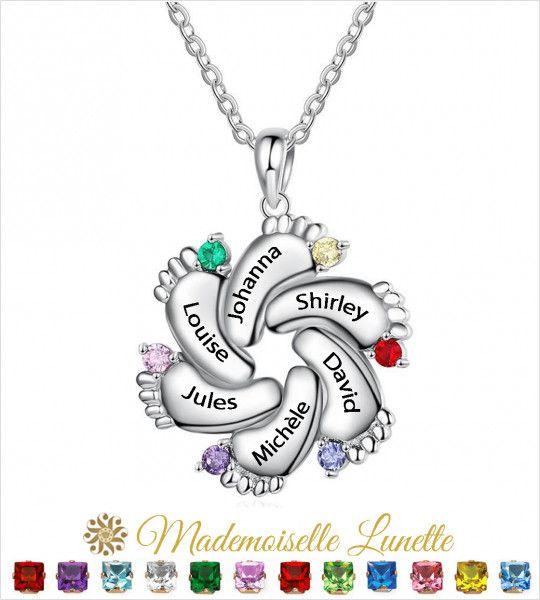 Collier 6 petits pieds personnalisable maman - Cadeau fete des mères-Cadeau anniversaire  - 1