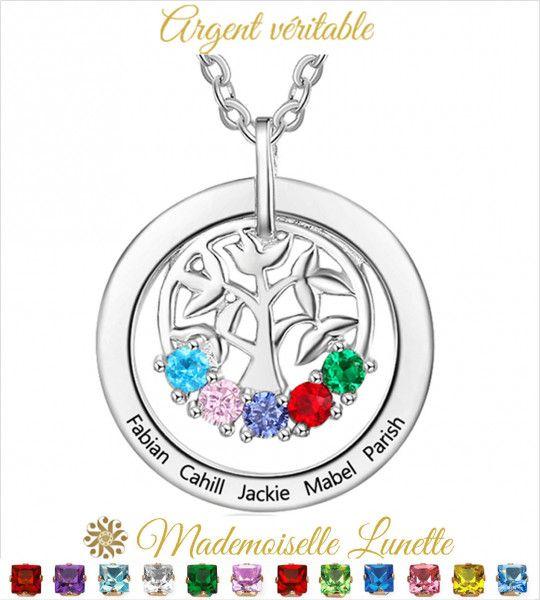 Collier arbre de vie personnalisable maman - Cadeau fete des mères-Cadeau anniversaire  - 1