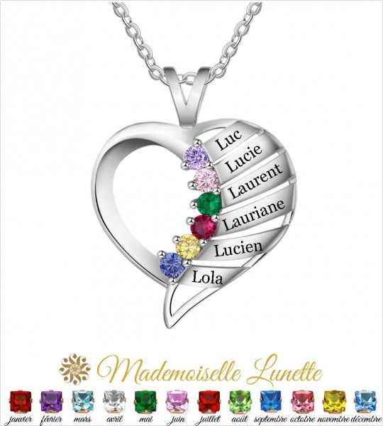 Collier coeur personnalisable maman - Cadeau fete des mères-Cadeau anniversaire  - 1