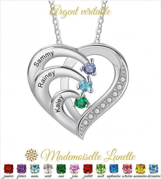 Collier coeur maman personnalisable - Cadeau fete des mères-Cadeau maman  - 1