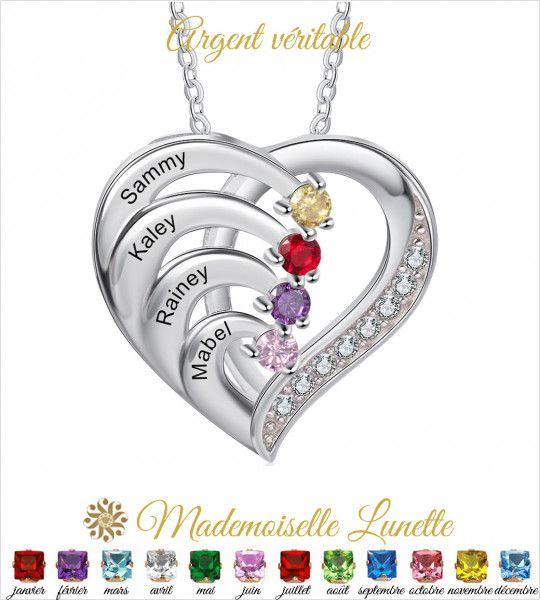 Collier coeur personnalisable maman - Cadeau fete des mères-Cadeau maman  - 1