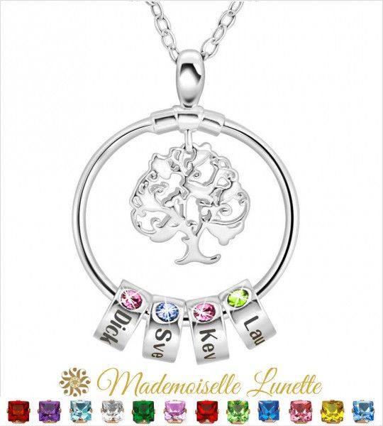 Collier arbre de vie 4 pierres de naissance 4 gravures prenoms - collier maman  - 1