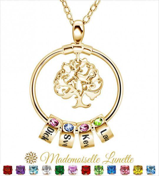 Collier arbre de vie personnalisé - Cadeau maman  - 1