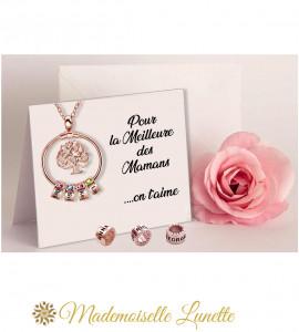 Collier arbre de vie rose personnalisé - Cadeau maman  - 1
