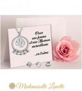 Collier arbre de vie 5 pierres de naissance 5 gravures prenoms - collier maman  - 1