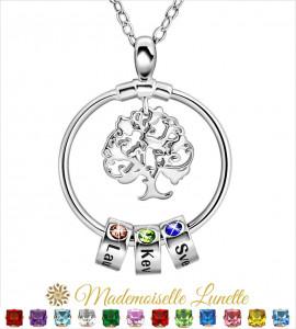 Collier arbre de vie 3 pierres de naissance 3 gravures prenoms - collier maman  - 1