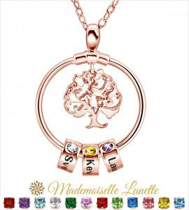 Collier arbre de vie personnalisé - collier maman plaqué-or rose  - 1