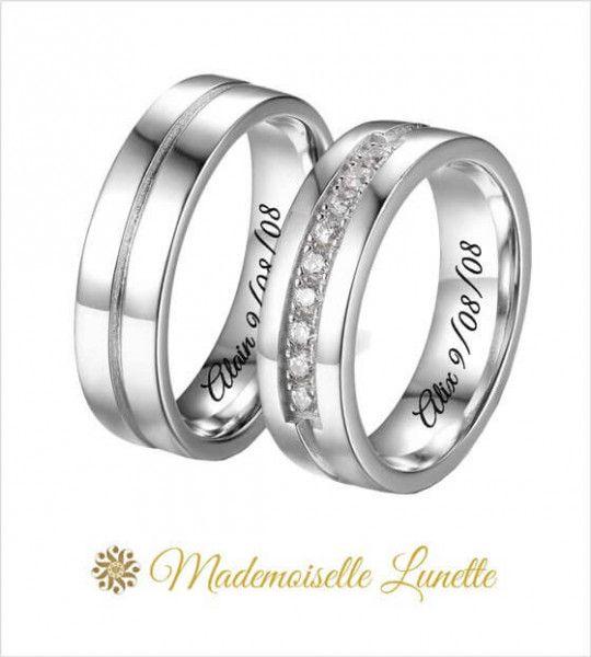 double bague anneaux de mariage avec personnalisation prenoms