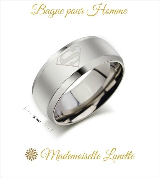 design intemporel eea9a 51f0e Bague Superman personnalisable bague large anneau acier pour homme