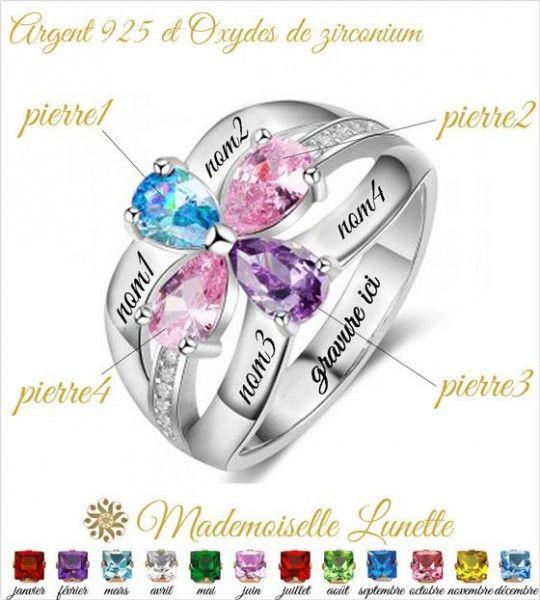 bague 4 prenoms gravés et 4 pierres cristal