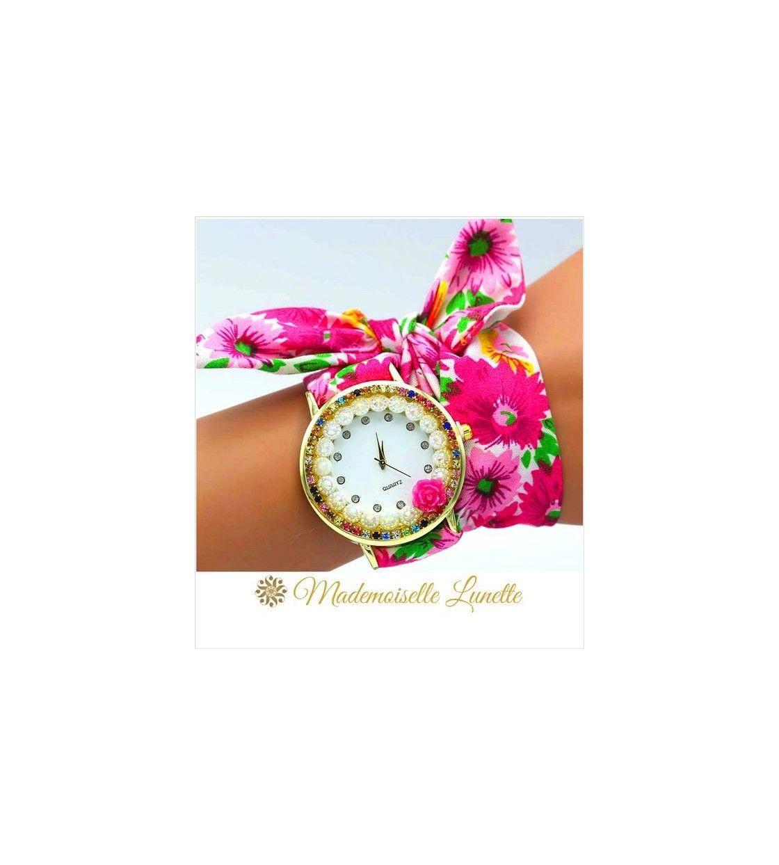montre-avec-perles-et-strass-et-bracelet-ruban-interchangeable-fushia