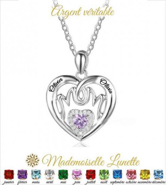 Collier coeur mom avec pierre de naissance et gravure 2 prenoms - collier argent  - 1