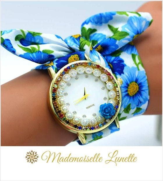 montre-avec-perles-et-strass-et-bracelet-ruban-interchangeable-bleue