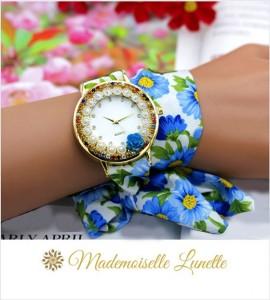 montre-avec-perles-et-strass-et-bracelet-ruban-interchangeable-bleu