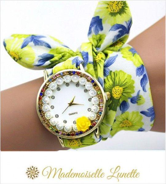 montre-avec-perles-et-strass-et-bracelet-ruban-interchangeable-jaune