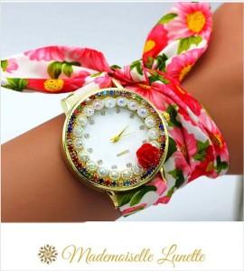 montre-avec-perles-et-strass-et-bracelet-ruban-interchangeable-rouge