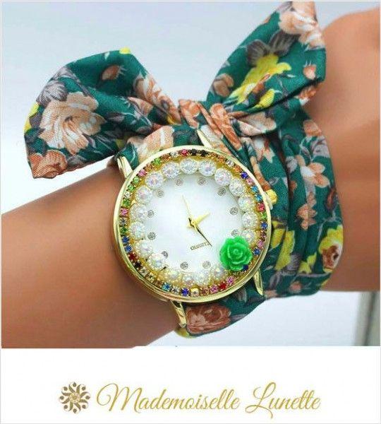 montre-avec-perles-et-strass-et-bracelet-ruban-interchangeable-vert