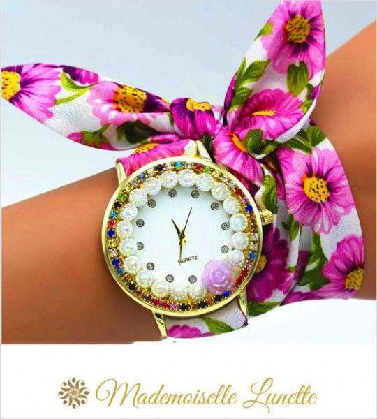 montre-avec-perles-et-strass-et-bracelet-ruban-interchangeable-mauve