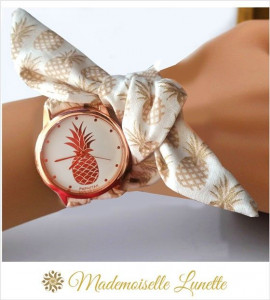 montre-bracelet-ruban-interchangeable-motif-ananas-or-rose-montre-pour-maman