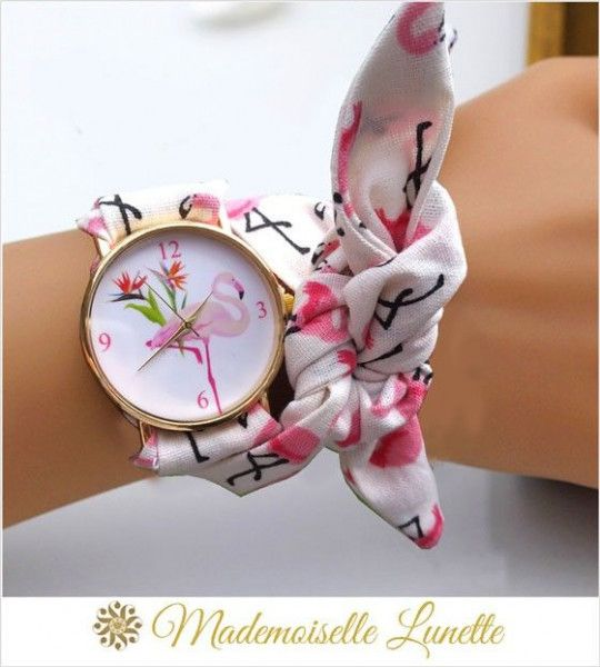 montre flamant rose avec bracelet ruban motif flamant rose montre ajustable poignet